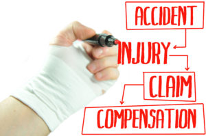 man with a broken wrist, writing out injury claim compensation concept