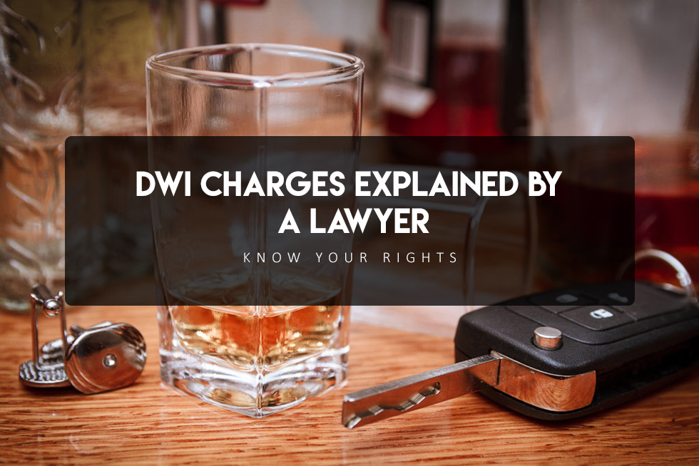"Car keys next to a glass of whiskey overlayed text ""DWI charges explained by a lawyer, know your rights"""
